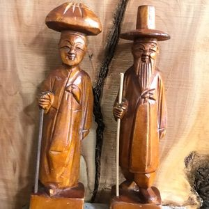 Vintage Mid Century WoodHand carved Asian Figures